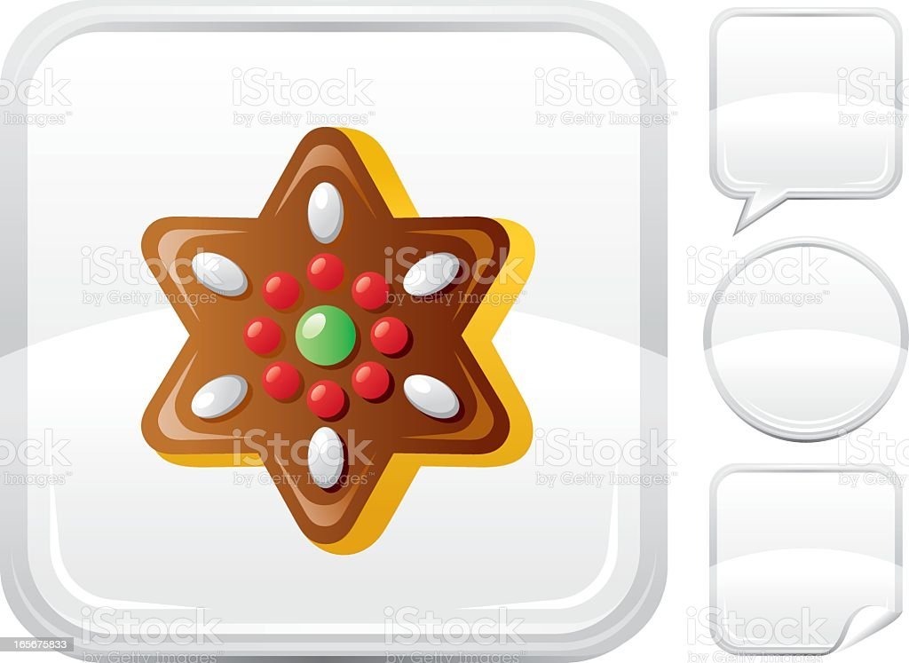 Christmas star cookie icon on silver button vector art illustration
