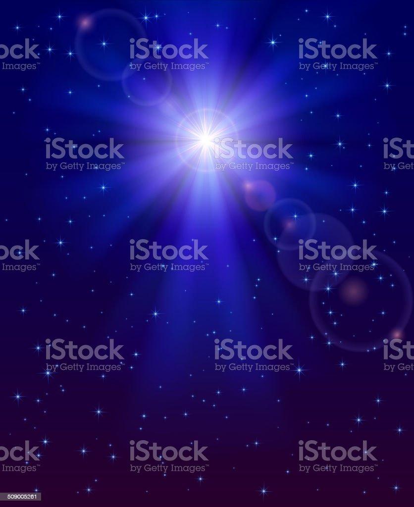 Christmas star in the sky vector art illustration