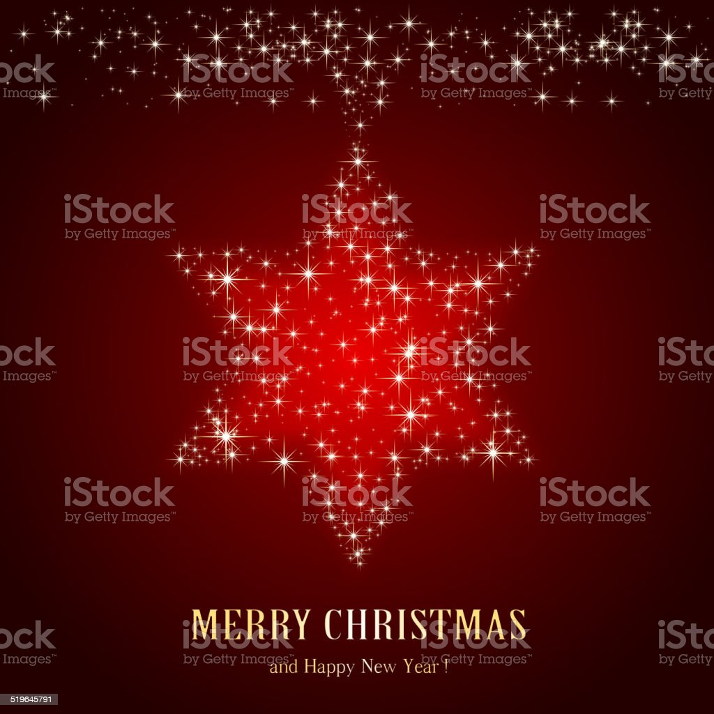 Christmas star on red background vector art illustration