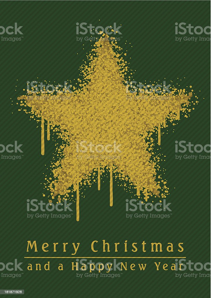Christmas Star Paint Graffiti Grunge Vertical Green royalty-free stock vector art