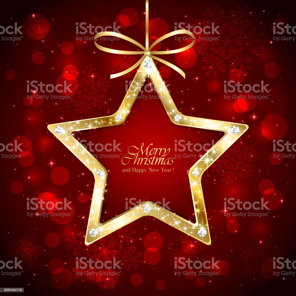 Christmas star with diamonds on red background vector art illustration