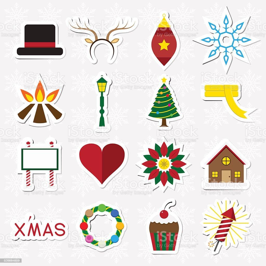 Autocollant de Noël Ensemble d'icônes illustration vectorielle stock vecteur libres de droits libre de droits