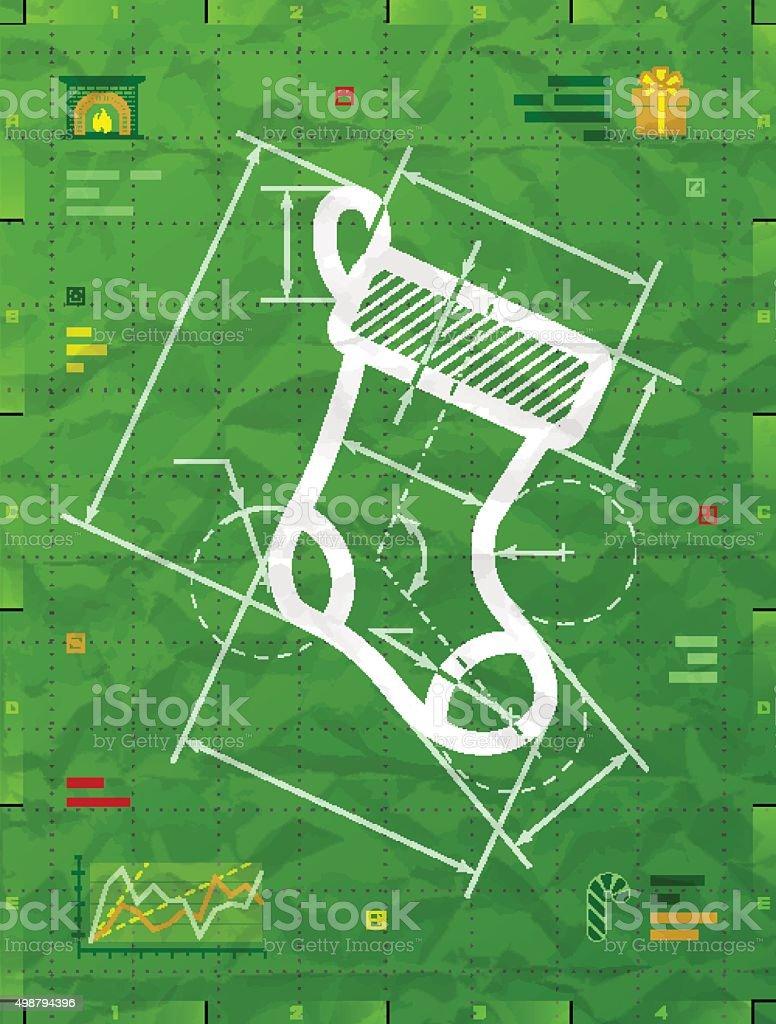 Christmas stocking symbol as technical blueprint drawing vector art illustration