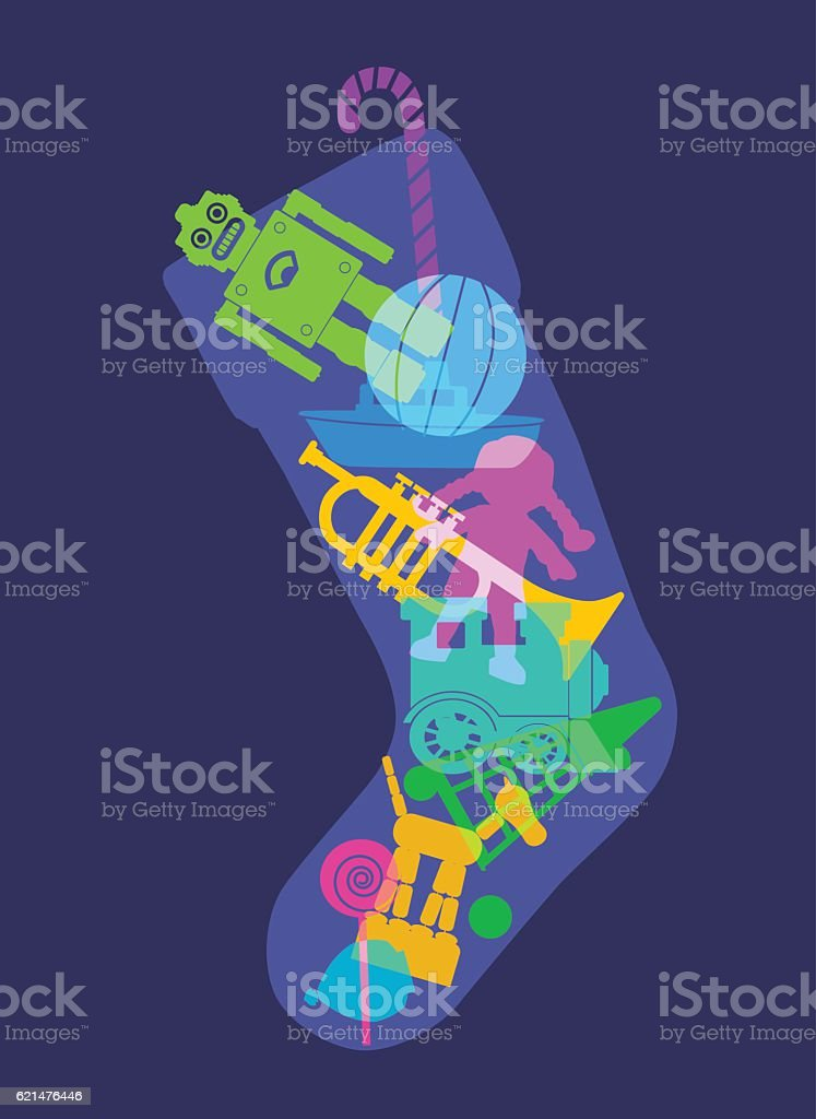 Christmas Stocking toys vector art illustration