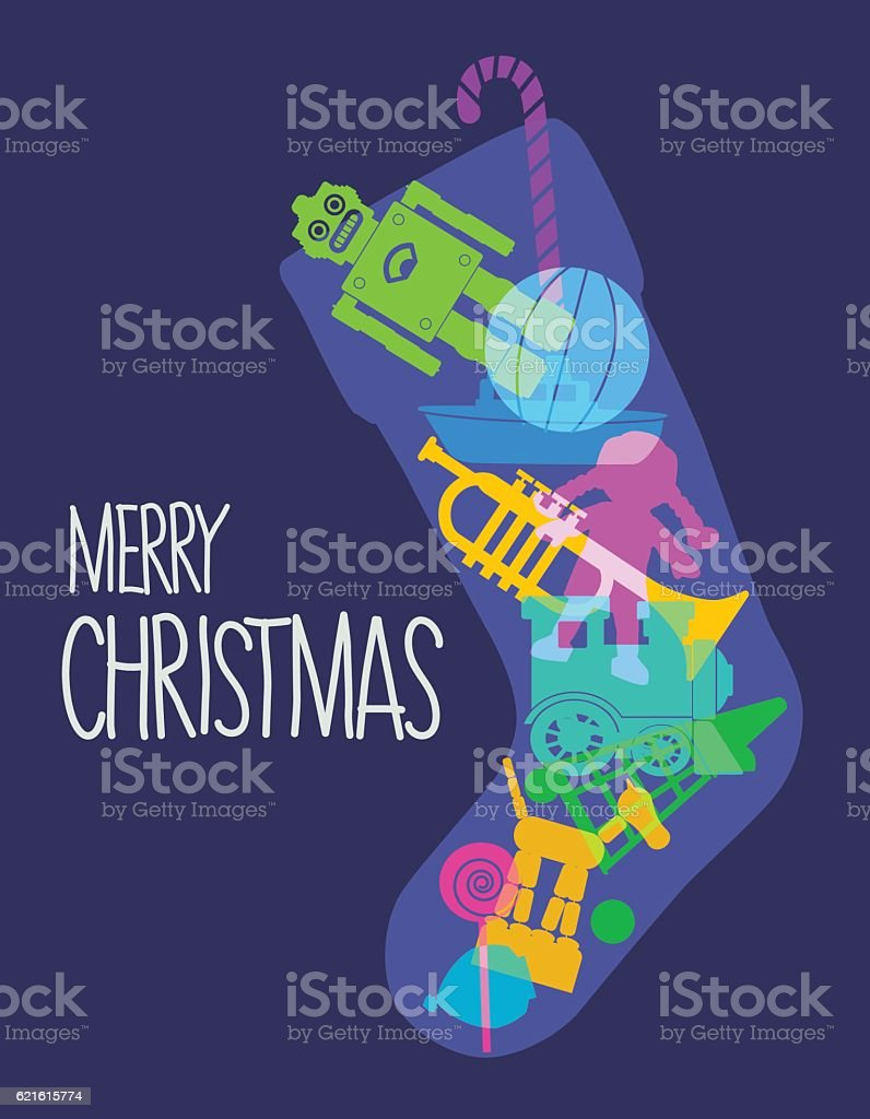 Christmas Stocking toys vector art illustration