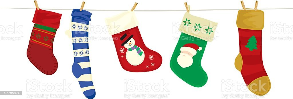 Christmas stockings and clothesline royalty-free stock vector art