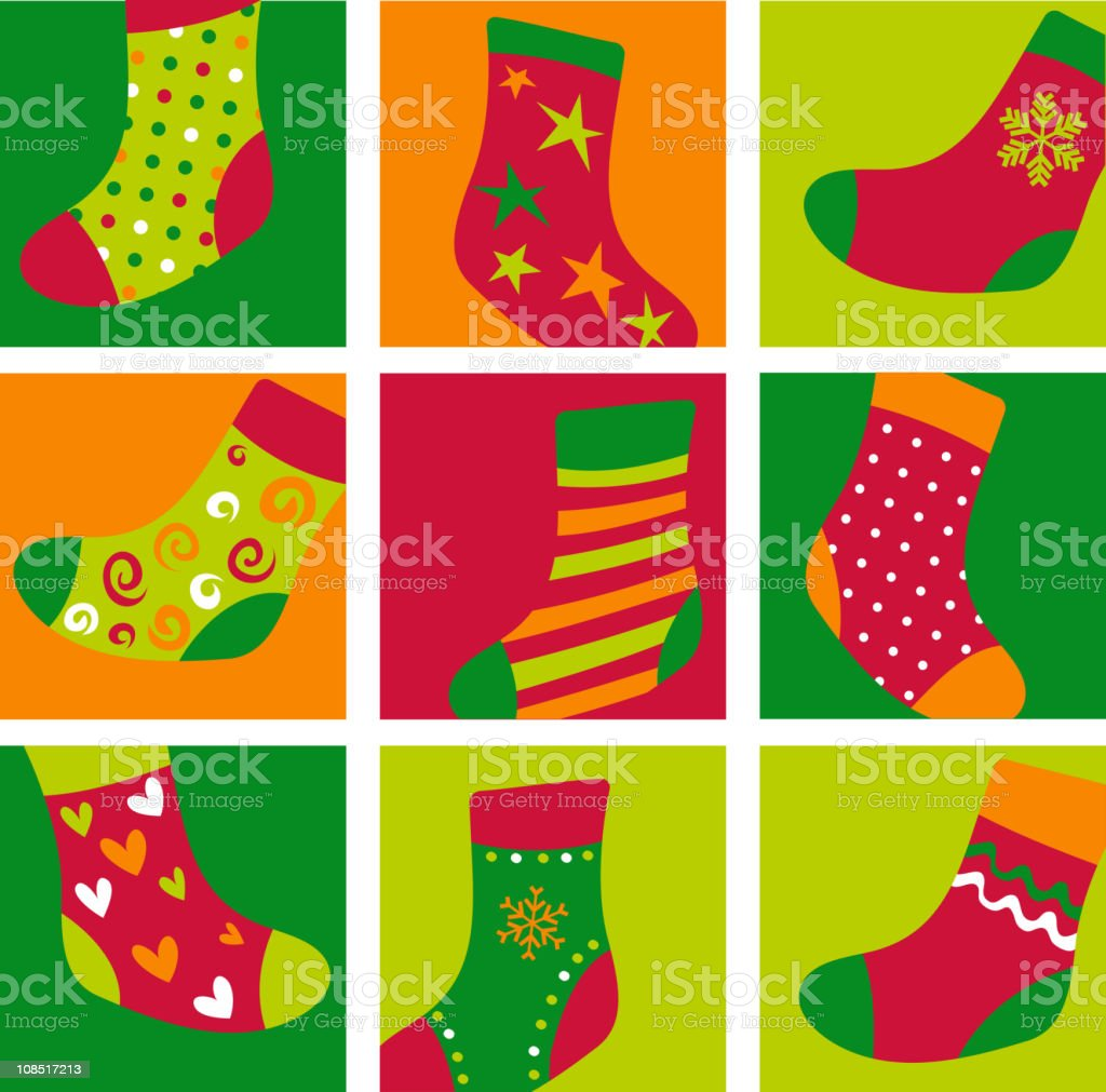 Christmas stockings backgrounds royalty-free stock vector art