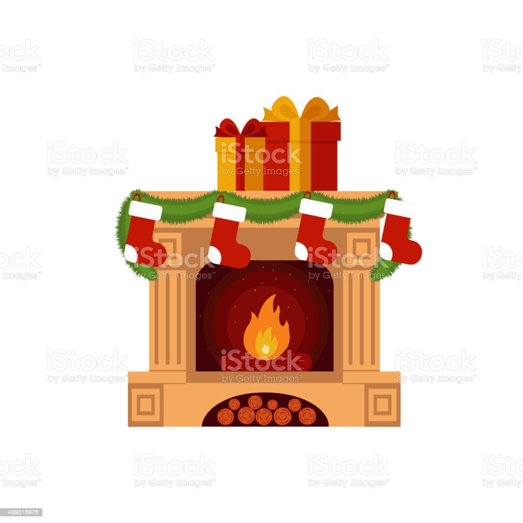 Christmas stockings by the fireplace. vector art illustration