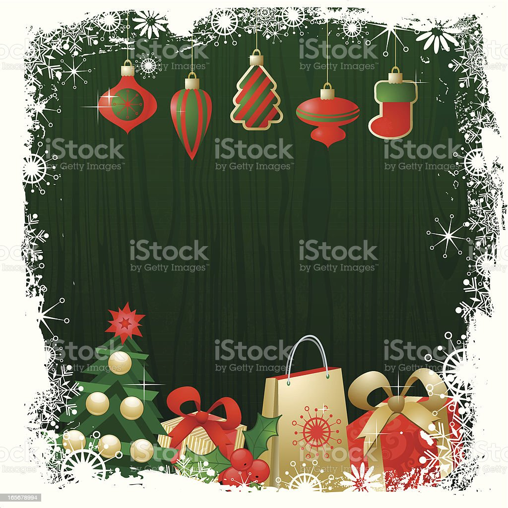 Christmas Stockings on wood. royalty-free stock vector art