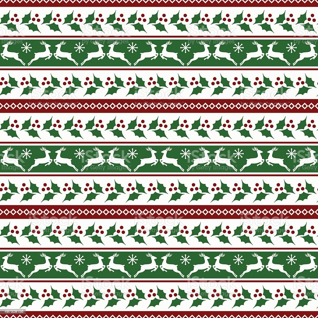 Christmas striped pattern with deers and holly vector art illustration