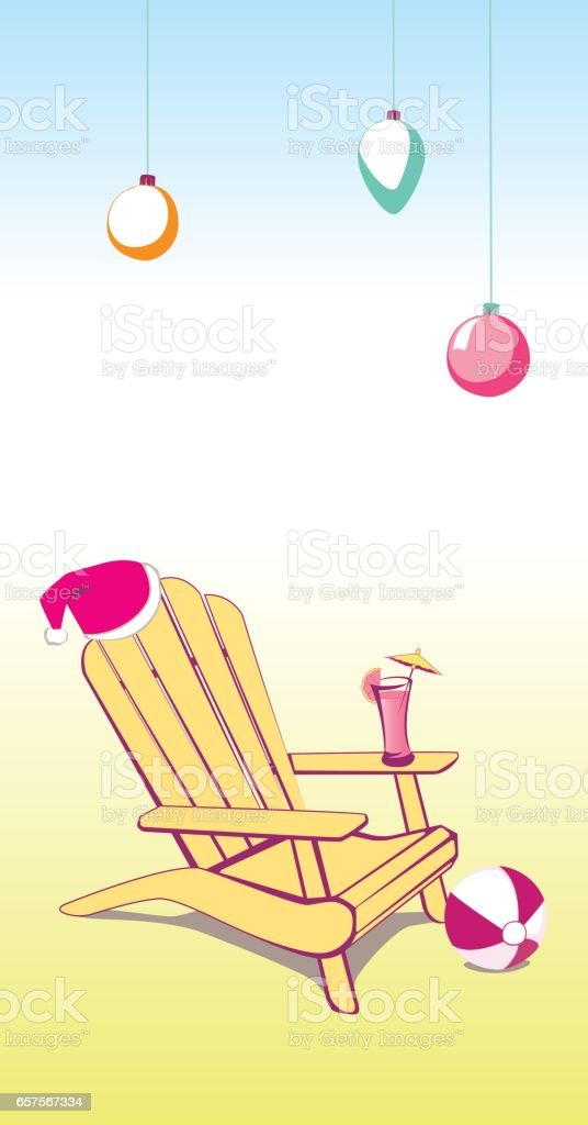 Christmas Summer Beach Chair vector art illustration