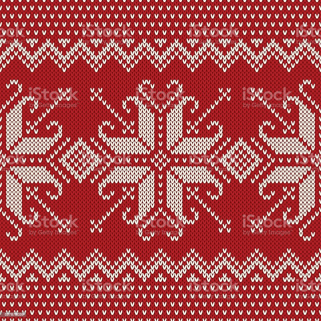 Christmas Sweater Design. Seamless Knitted Pattern with Snowflak vector art illustration