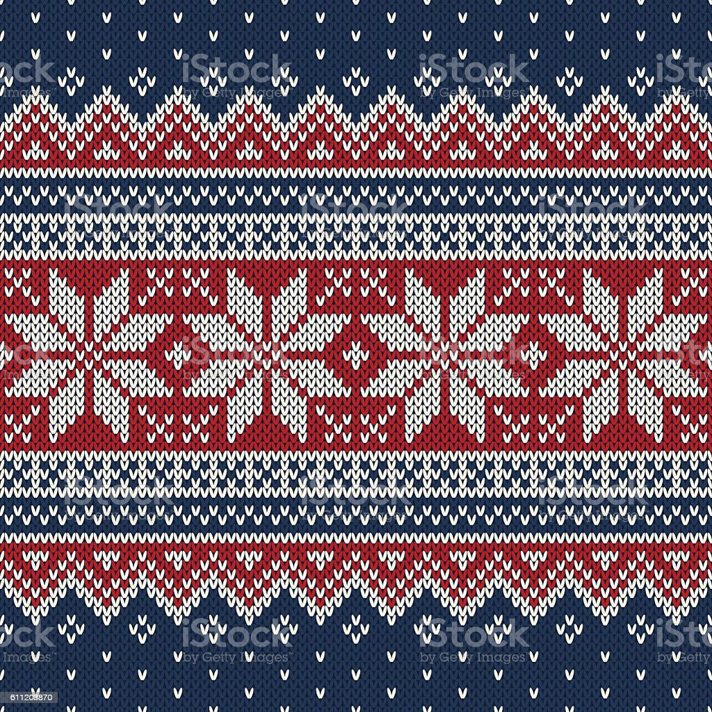 Christmas Sweater Design. Seamless Knitting Pattern vector art illustration