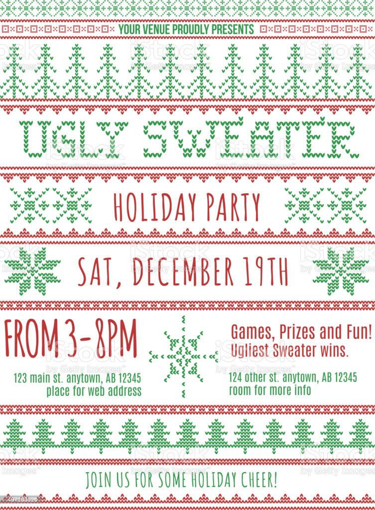 Christmas sweater party invitation vector art illustration