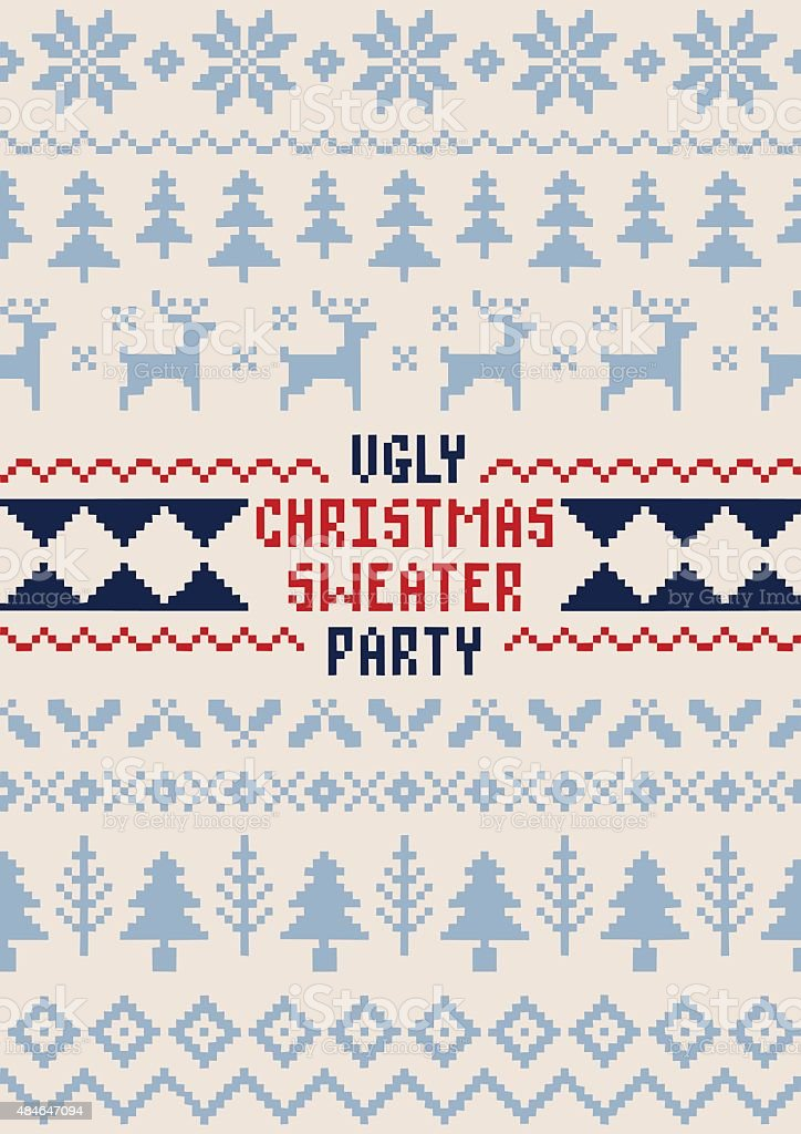 Christmas Sweater Party Poster - Handmade Seamless Pattern vector art illustration