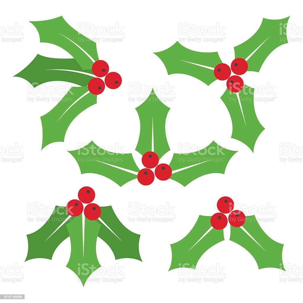 Christmas symbol Holly berry icon. vector art illustration