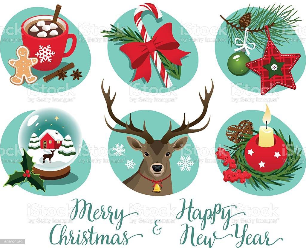 Christmas symbols and decorations vector art illustration