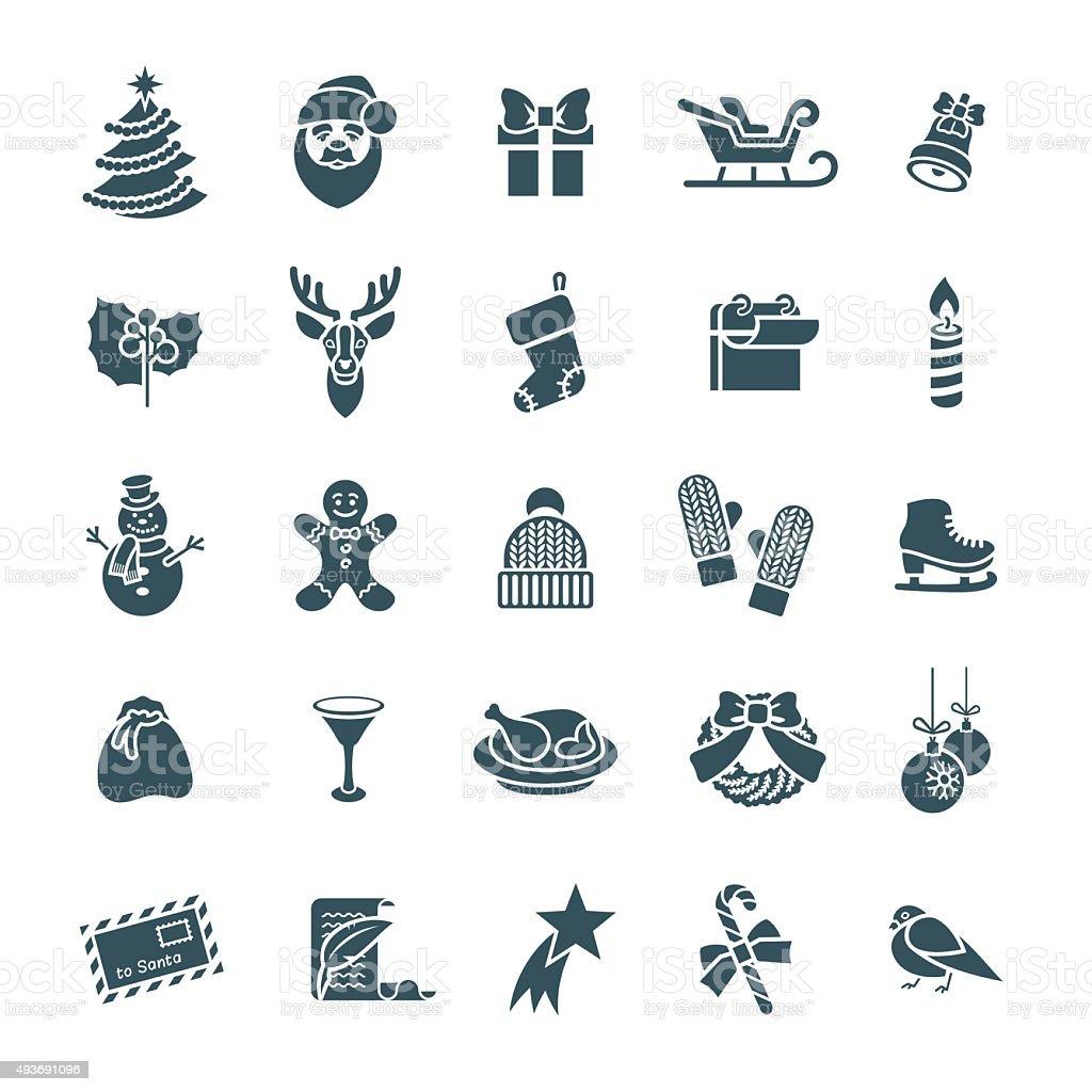 Christmas symbols flat vector silhouette icons set vector art illustration