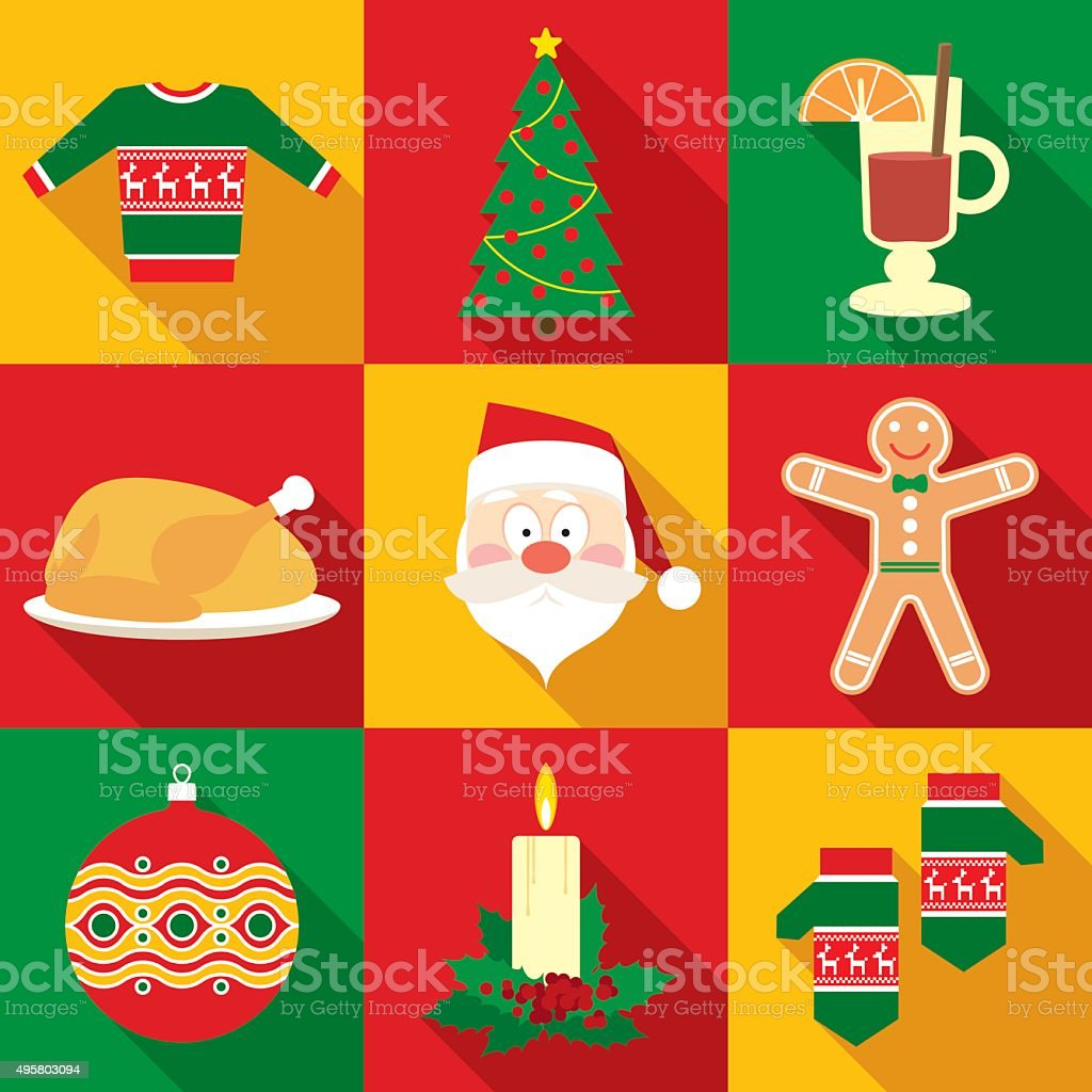 Christmas Symbols Set in Flat Style vector art illustration