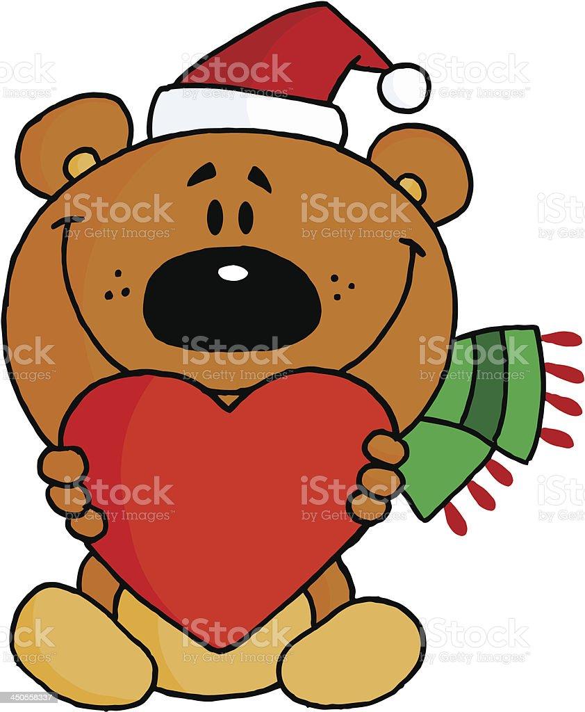 Christmas Teddy Bear Holding A Heart royalty-free stock vector art