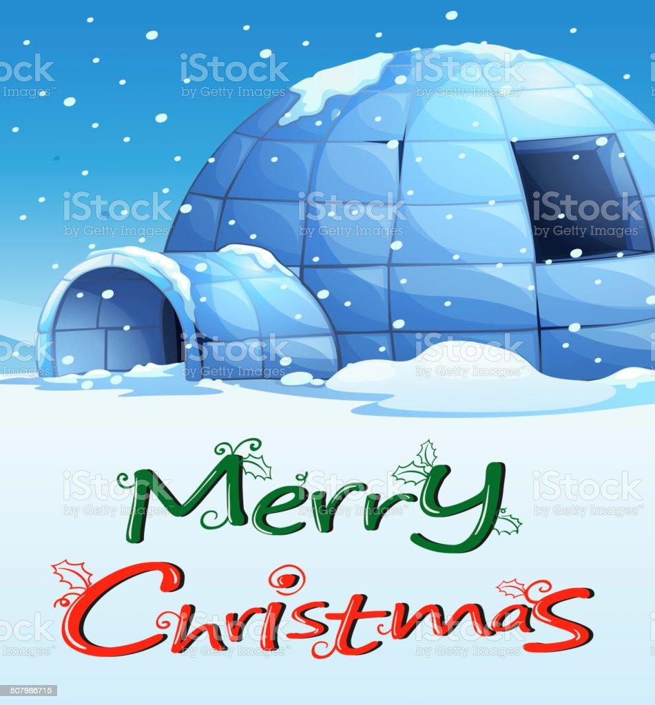 Christmas template with an igloo royalty-free stock vector art