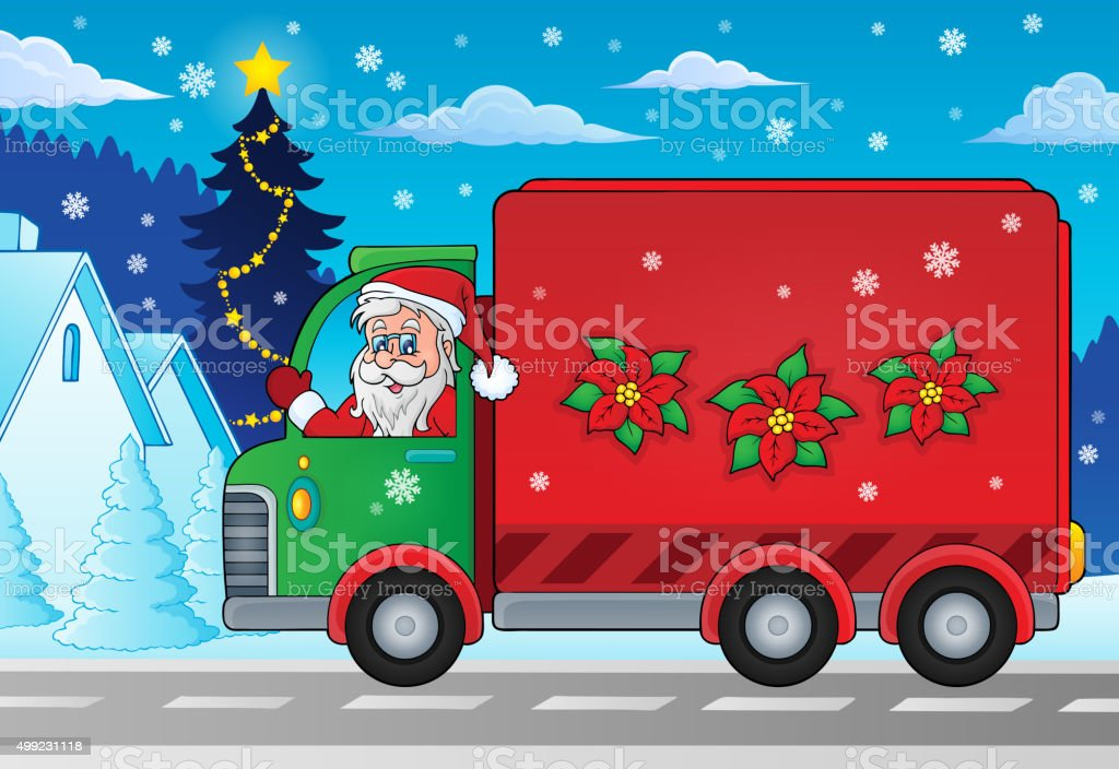 Christmas theme delivery car image 2 vector art illustration
