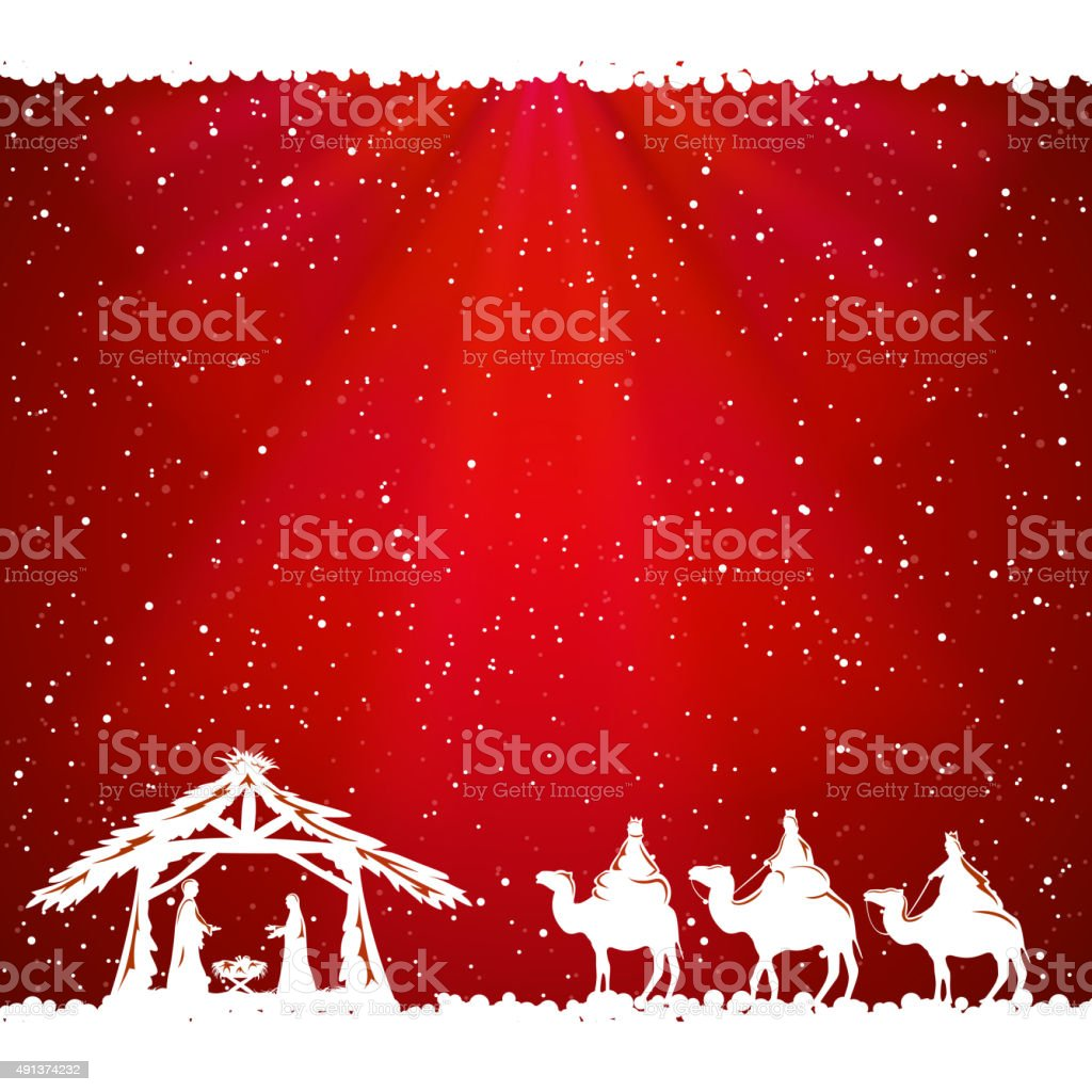 Christmas theme on red background vector art illustration