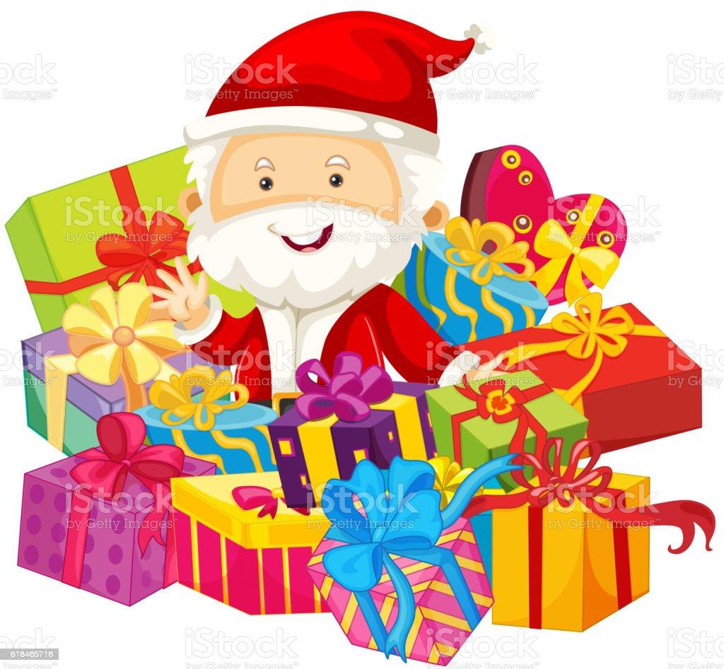 christmas theme with santa and presents stock vector art 618465716