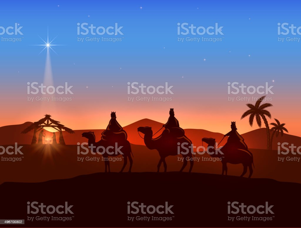 Christmas theme with three wise men and shining star vector art illustration