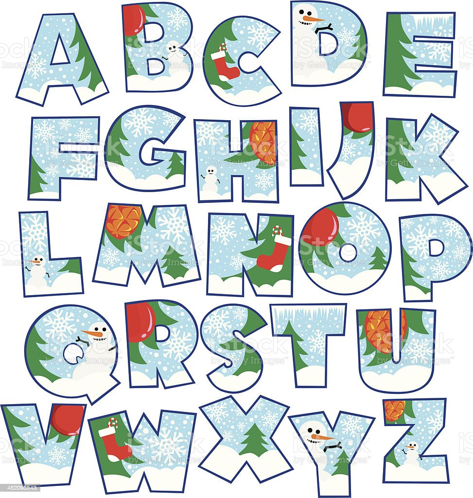 Christmas themed alphabet typography royalty-free stock vector art