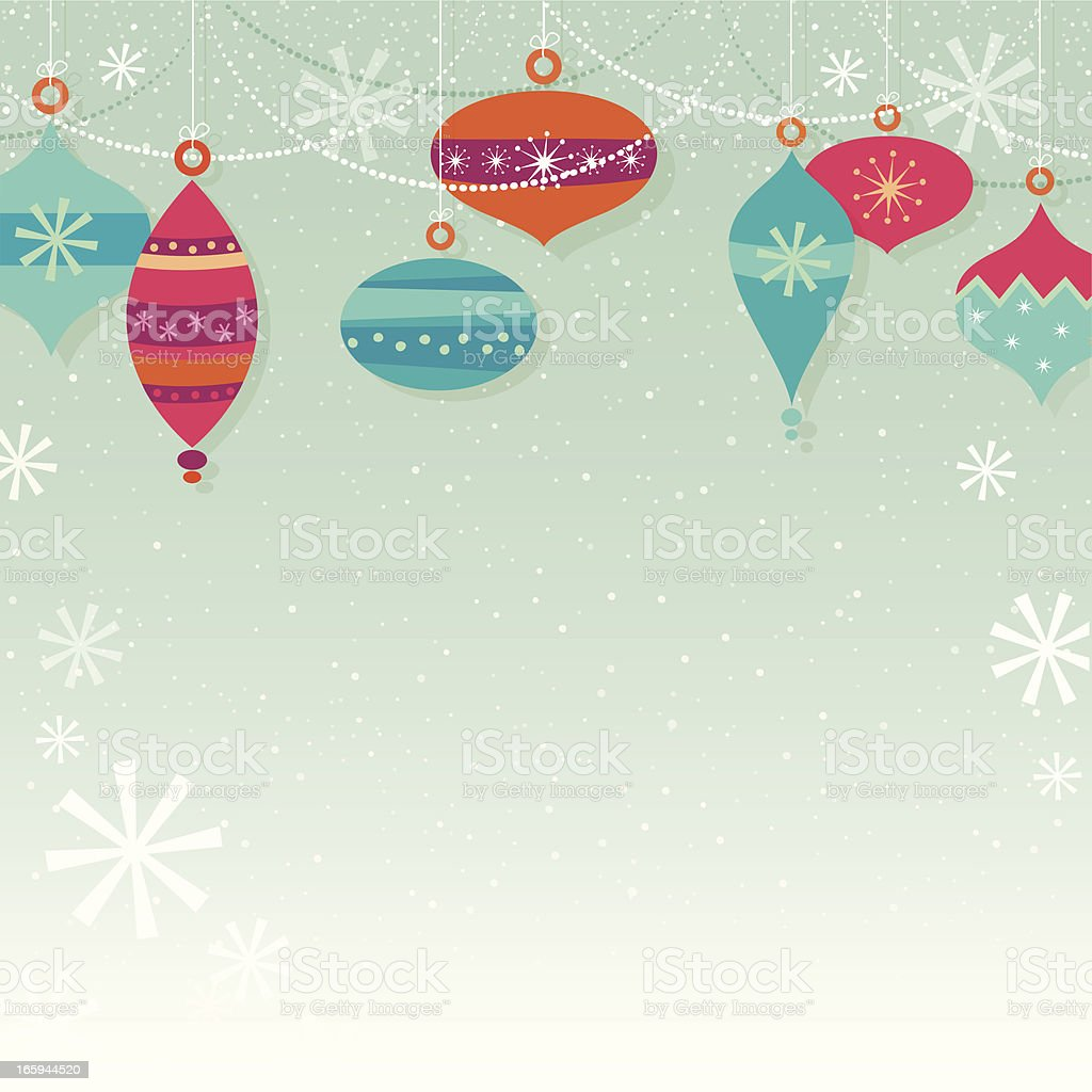 A Christmas themed background with snowflakes and ornaments  royalty-free stock vector art