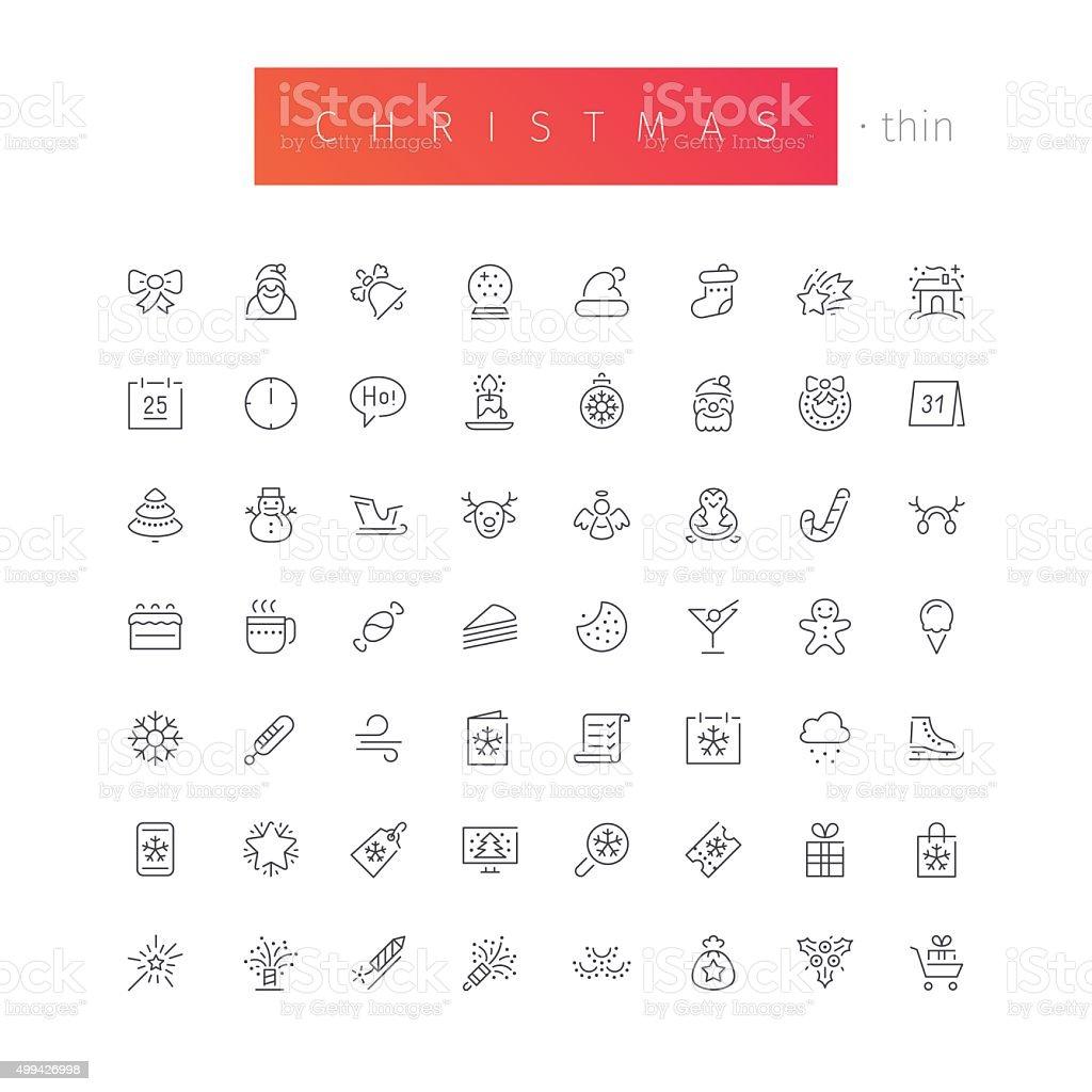 Christmas Thin Icons Set vector art illustration