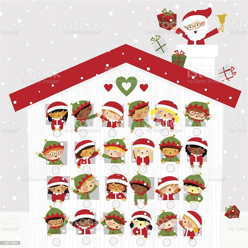 Christmas time cute kids elf santaclaus present gift snow calendar vector art illustration