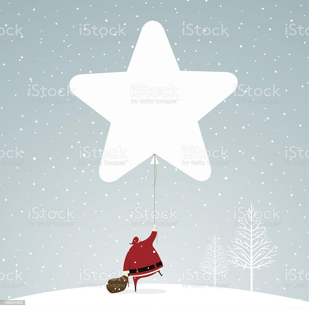 Christmas time santa claus star snowing snow illustration vector royalty-free stock vector art