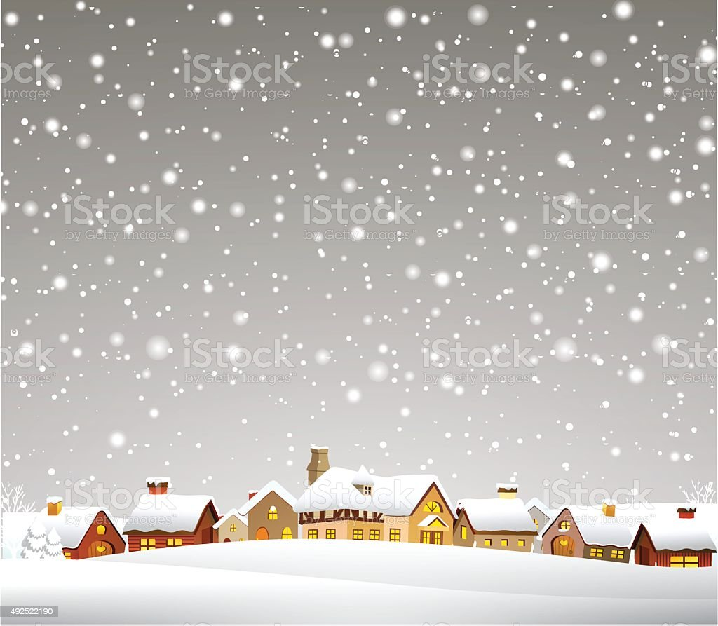 Christmas Town vector art illustration