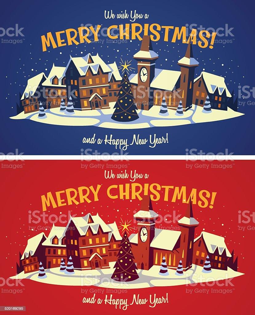 Christmas town vector art illustration