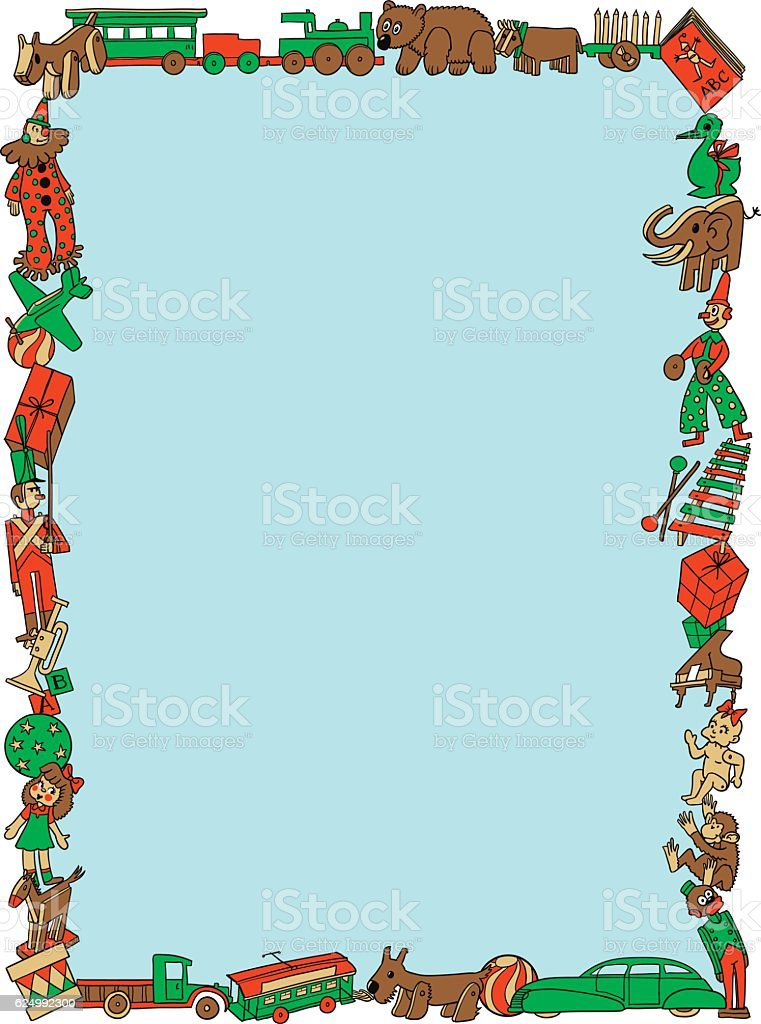 Christmas Toys Retro Styled Frame vector art illustration