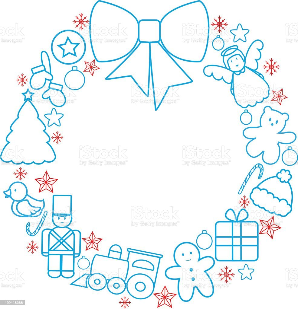 Christmas Toys Wreath stock vector art 499418688 | iStock