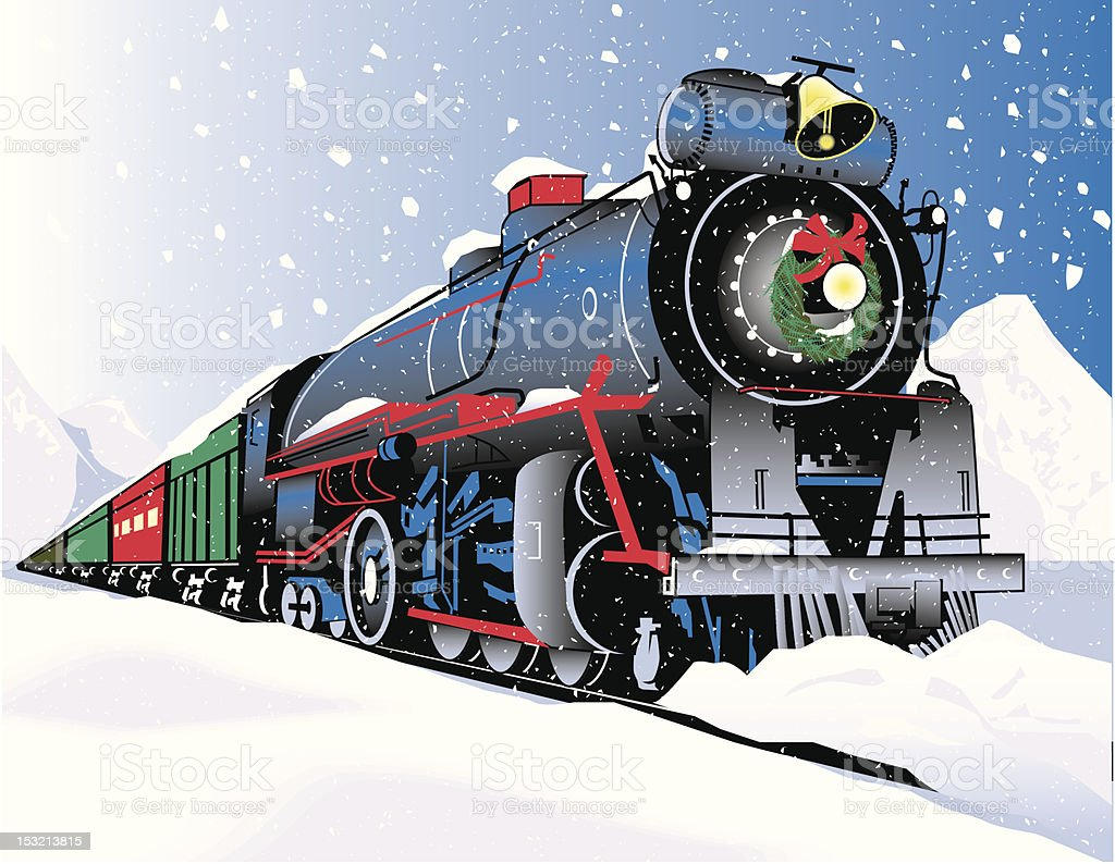Christmas Train vector art illustration