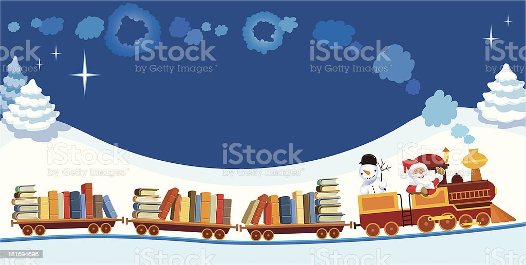 Christmas train with books royalty-free stock vector art