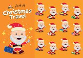 Christmas travel. Santa Claus carrying a suitcase.