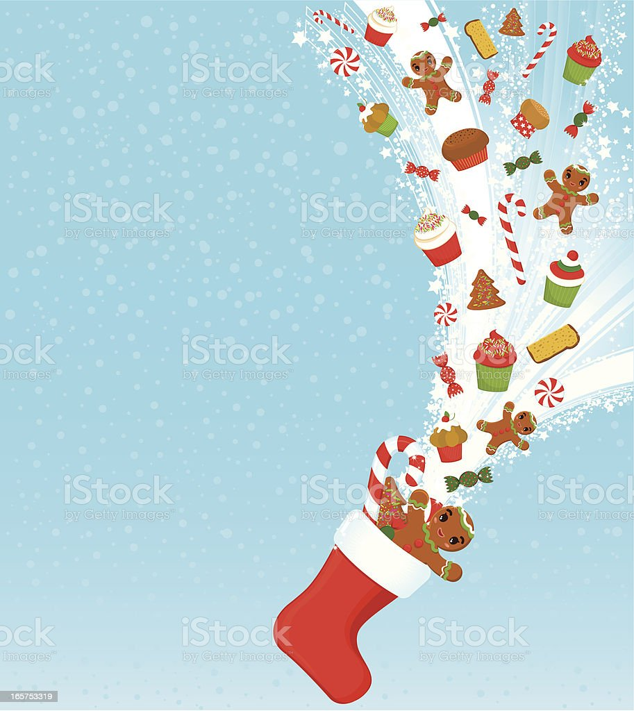 Christmas treats and sweets background vector art illustration