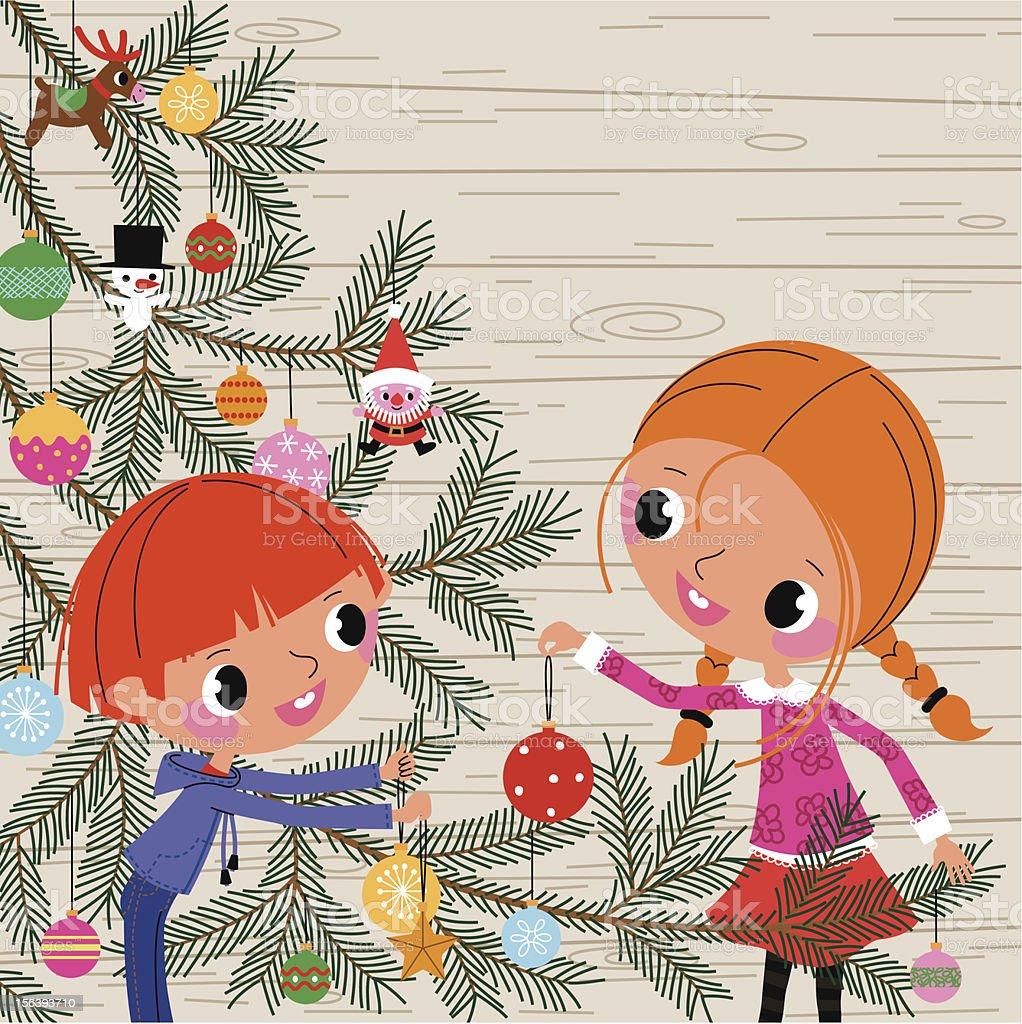 Christmas Tree and Children vector art illustration