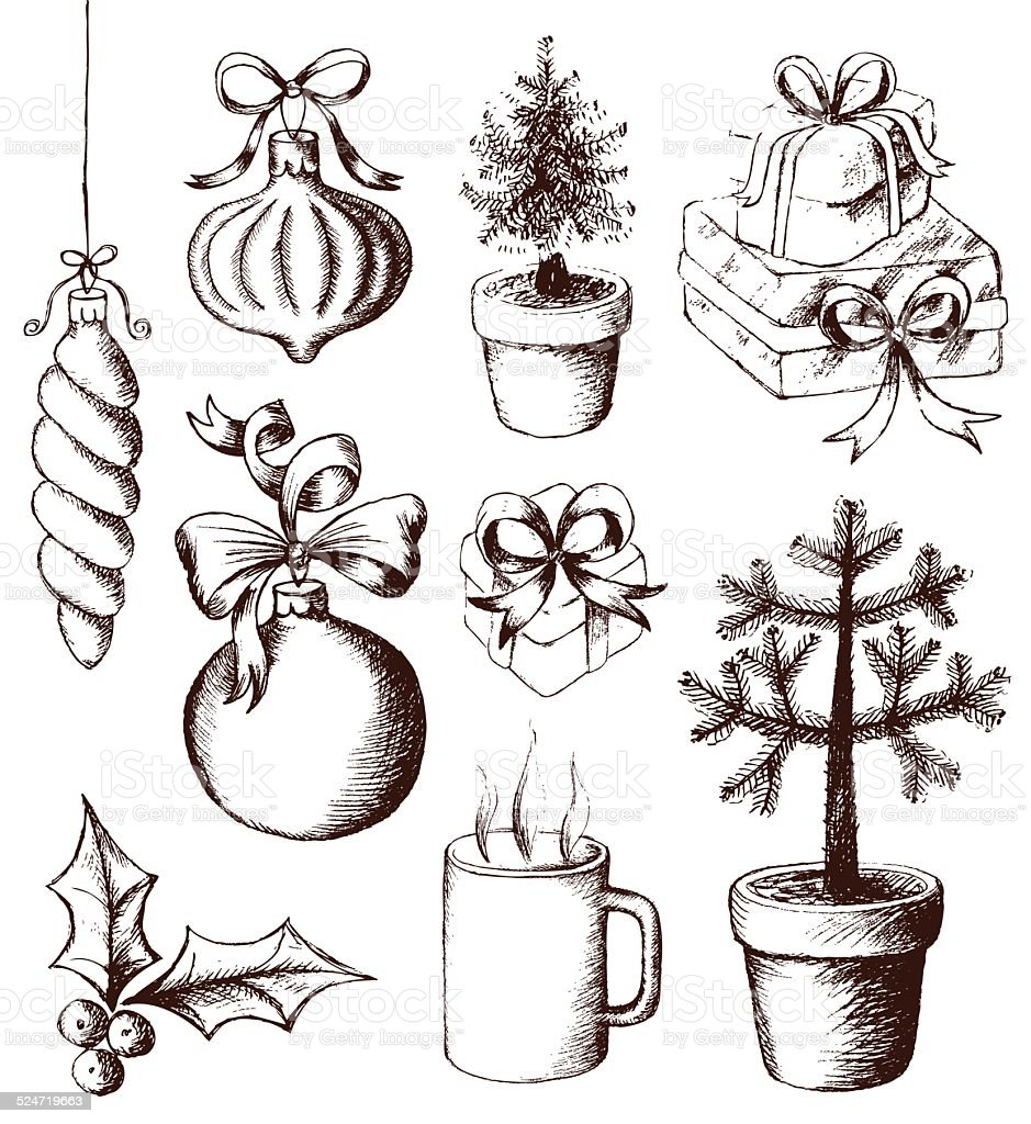 Christmas tree and decorations, presents, holly and mug of hot drink vector art illustration