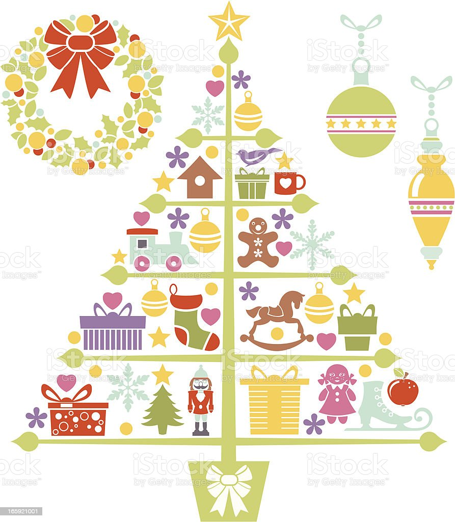 Christmas Tree and Design Elements royalty-free stock vector art