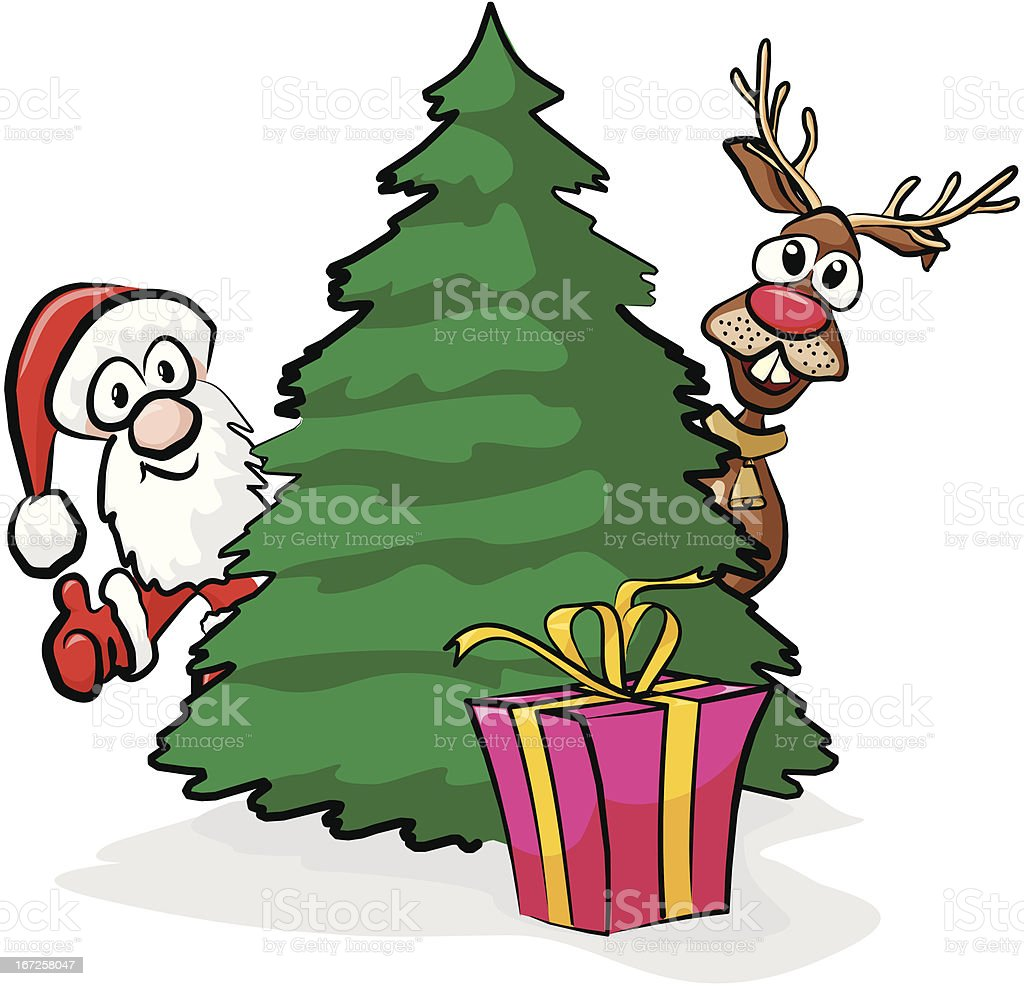 christmas tree and gift royalty-free stock vector art