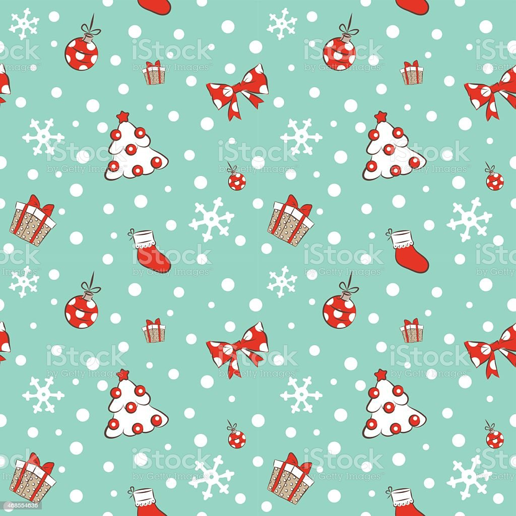 Christmas tree and gifts pattern vector art illustration