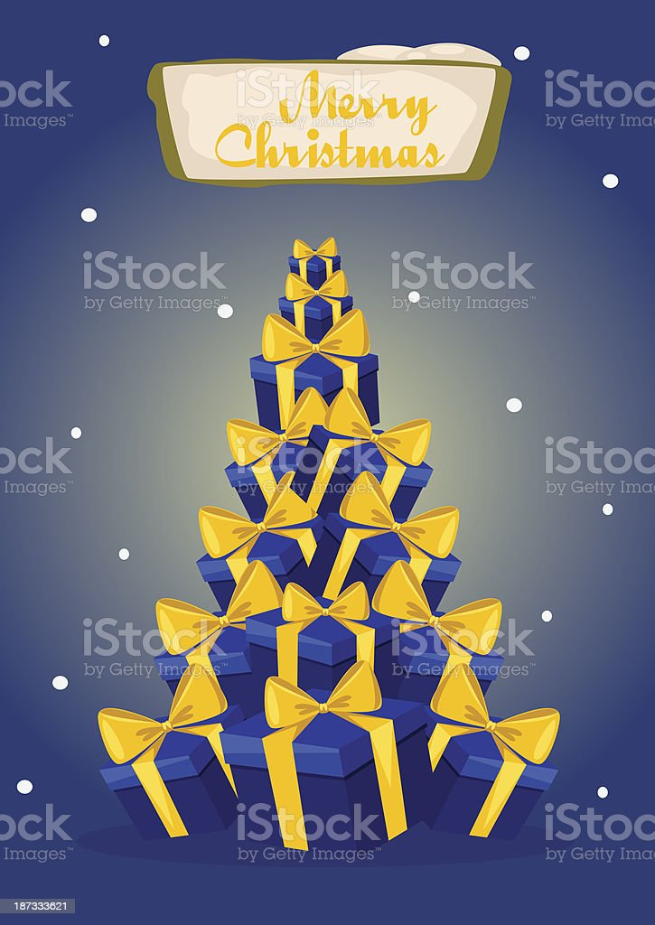 Christmas tree and gifts vector art illustration