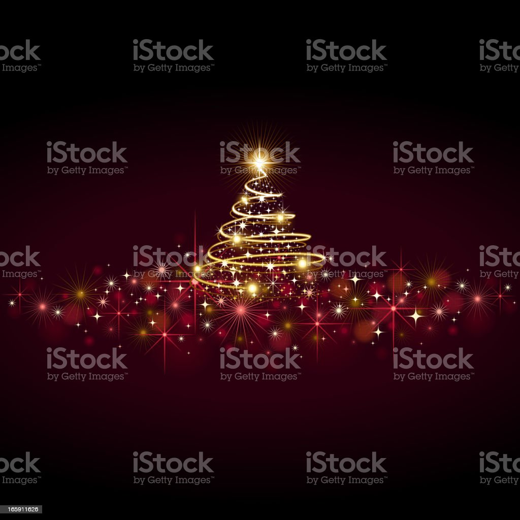 A Christmas tree and red lights used as a background royalty-free stock vector art