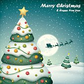 Christmas tree and santa sleigh with snowfall background